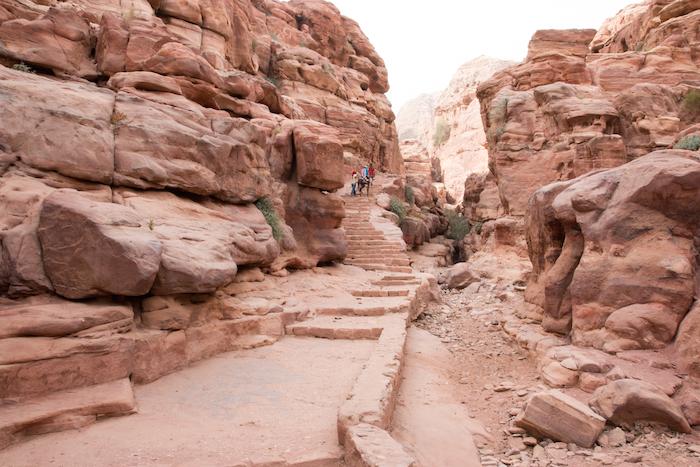 Climbing up by donkey to the Monastery Petra Jordan