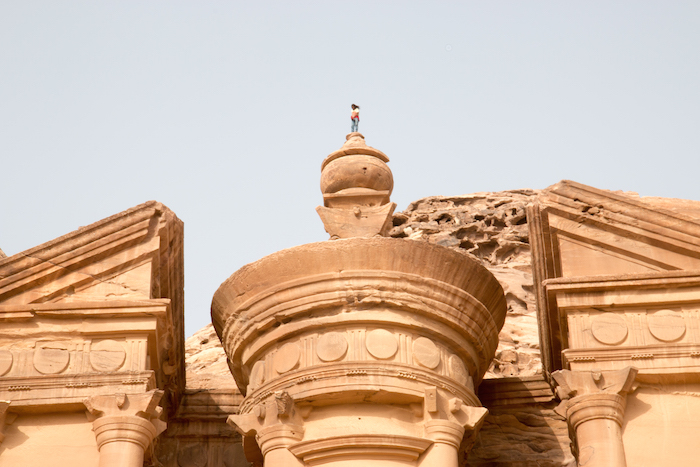 One of the locals on top of the turret on the Monastery Petra Jordan