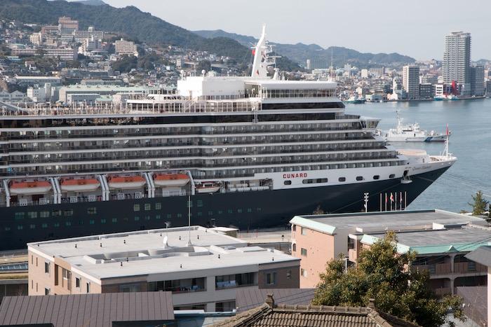 Cunard Queen Elizabeth in Nagasaki Japan