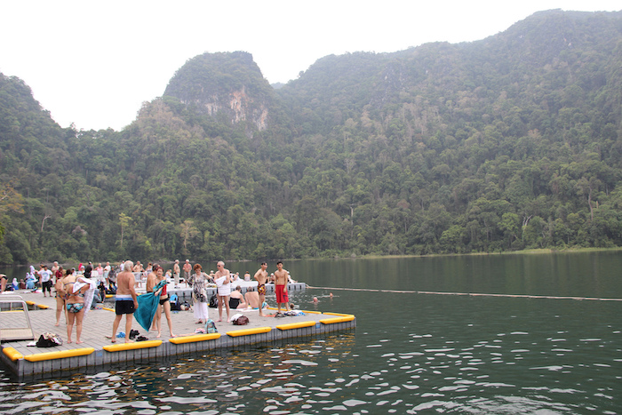 Swimmers at Langkawi island of the Pregnant Maiden