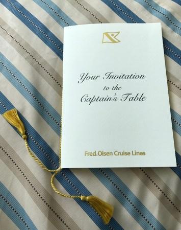 Fred Olsen Captain's Table Invitation