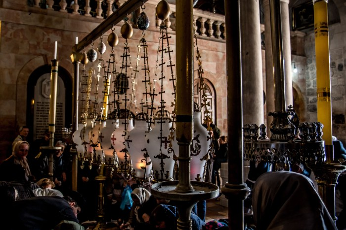Stone of Anointing in Church of the Holy Sepulchre Jerusalem Israel