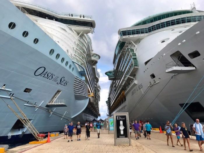 Passengers boarding cruise ships