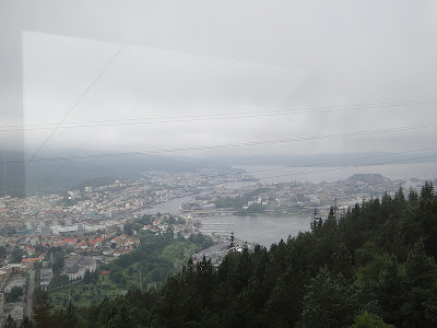 View of Bergen half way up Ulrike Mountain Cable Car