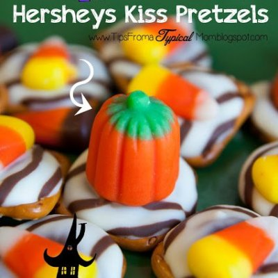 Halloween Hersheys Kiss and Pretzel Buttons