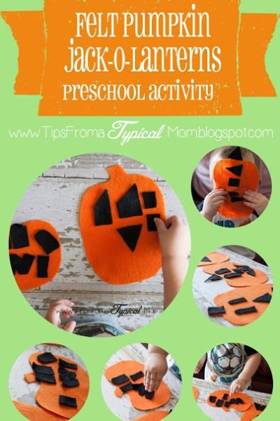 Felt Pumpkin Jack-O-Lantern Activity for Preschoolers- Invitation to Play