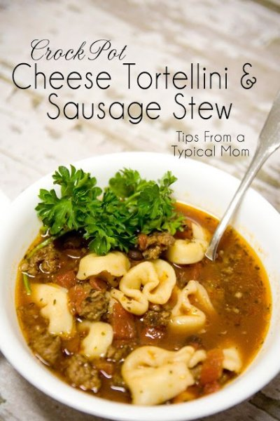 Crockpot Cheese Tortellini and Sausage Stew Recipe