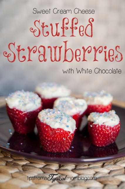 Sweet Cream Cheese Stuffed Strawberries with White Chocolate. Perfect for Easter or any Spring party. From Tips From a Typical Mom