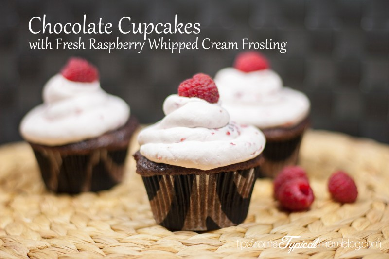 Made Better Chocolate Cupcakes from a mix with Fresh Raspberry Whipped Cream Frosting