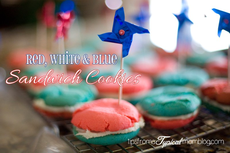 Red, White & Blue Cake Mix Sandwich Cookies~ 4th of July