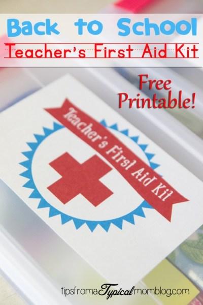 Back to School Teachers First Aid Kit Free Printable