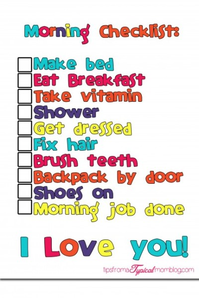 Back to School Morning Routine Checklist