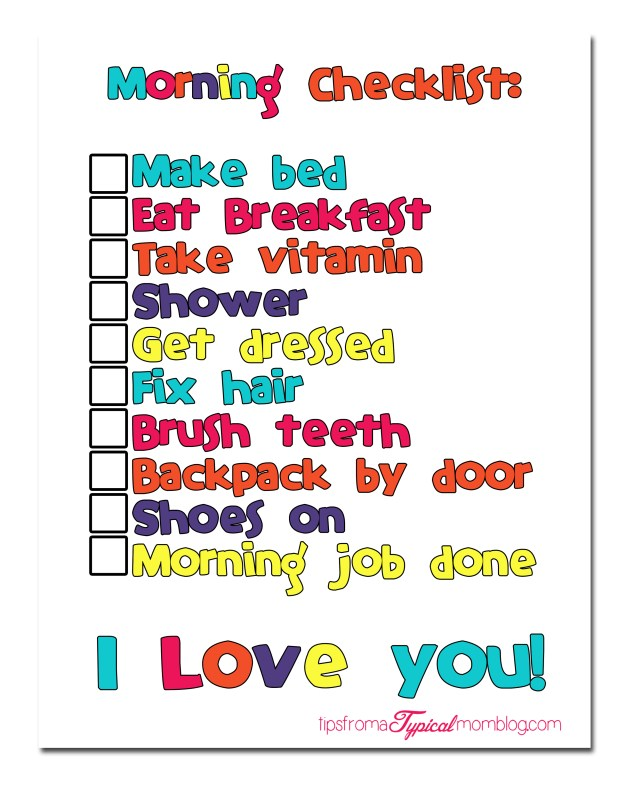 Back to school morning routine with free morning checklist printable