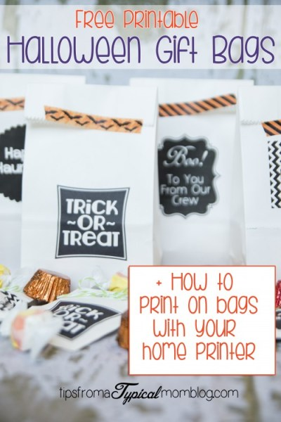 Halloween Gift Bags Free Printables + Tutorial on how to print on bags