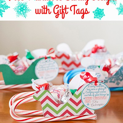 Free Printable Sleigh Candy Gifts with Gift Tags