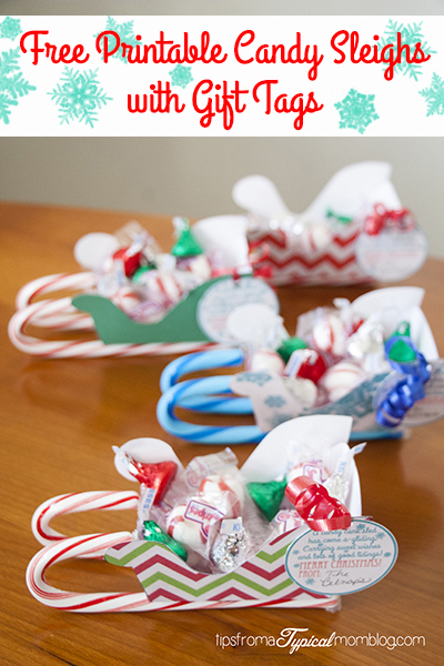 Free Printable Candy Sleighs with Gift Tags