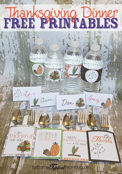 Thanksgiving Dinner Printables- Utensil Holders, Water ...