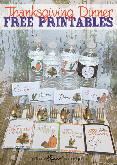Thanksgiving Dinner Printables- Utensil Holders, Water Bottle Labels and Place Cards