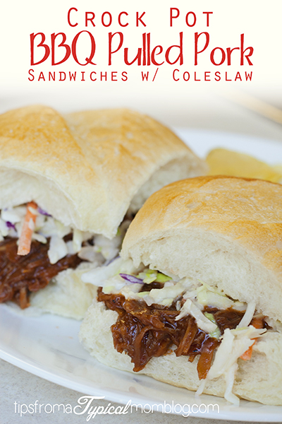 Crock Pot BBQ Pulled Pork Sandwiches with Coleslaw