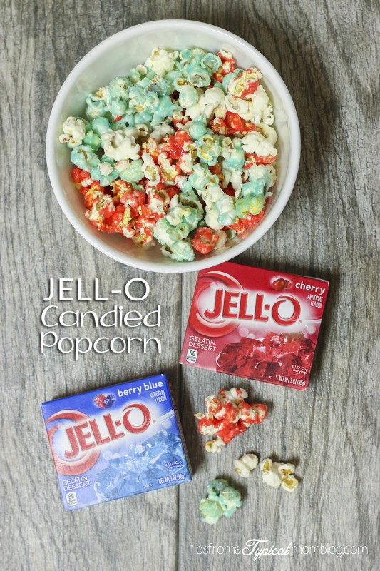 4th of July Jell-O Candied Popcorn