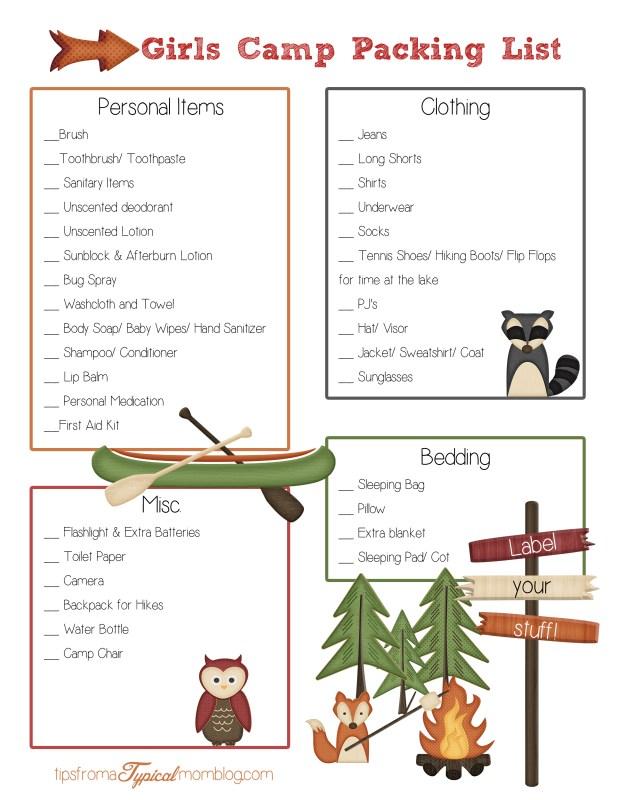 Girls Camp Packing List non church