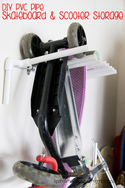 DIY PVC Pipe Skateboard and Scooter Storage