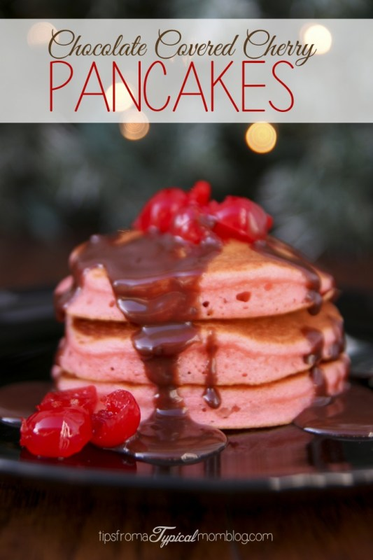 Chocolate Covered Cherry Pancakes with Chocolate Ganache Syrup