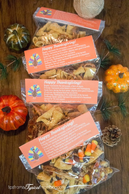 Thanksgiving Snack Mix Recipe and Free Printable