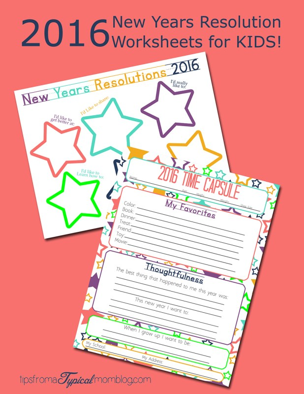 2016 New Years Resolution Worksheets for Kids
