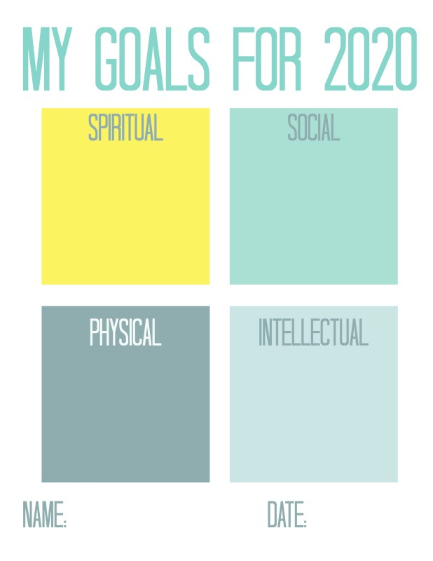 My Goals for 2020 LDS Youth Worksheet