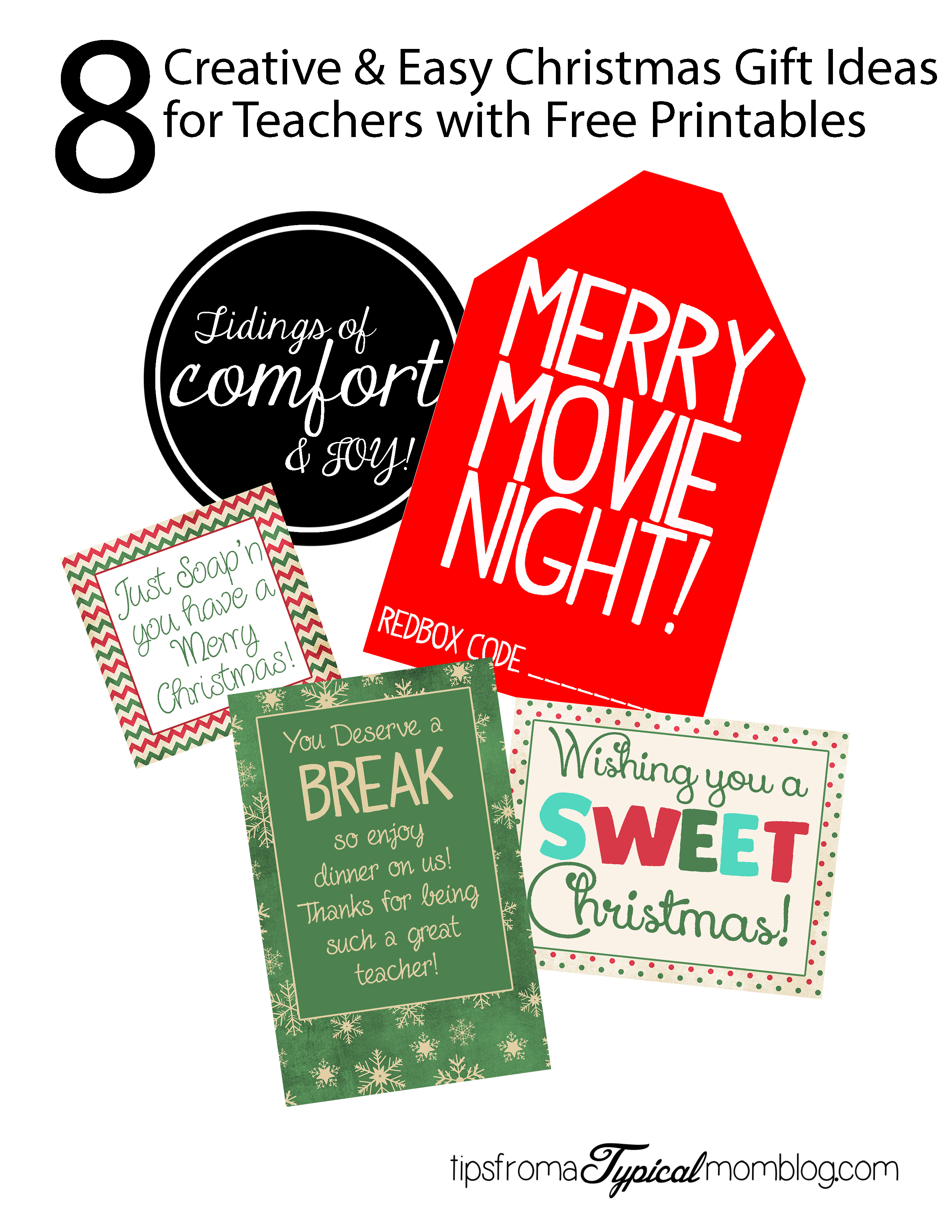 graphic relating to Printable Gift Tags Christmas known as 8 Straightforward and Very simple Trainer Xmas Reward Suggestions with Printable