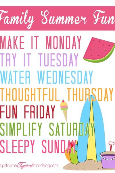 Summer Family Fun Activity Ideas & Free Printable