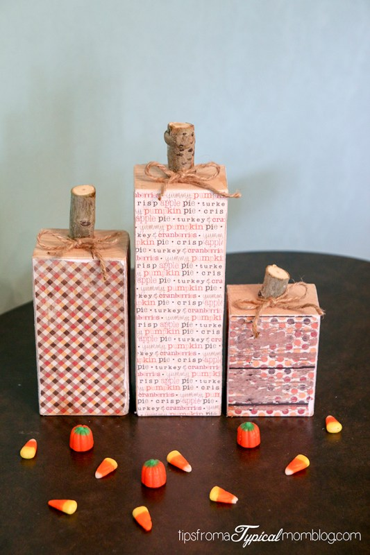 DIY Wood Block Pumpkins