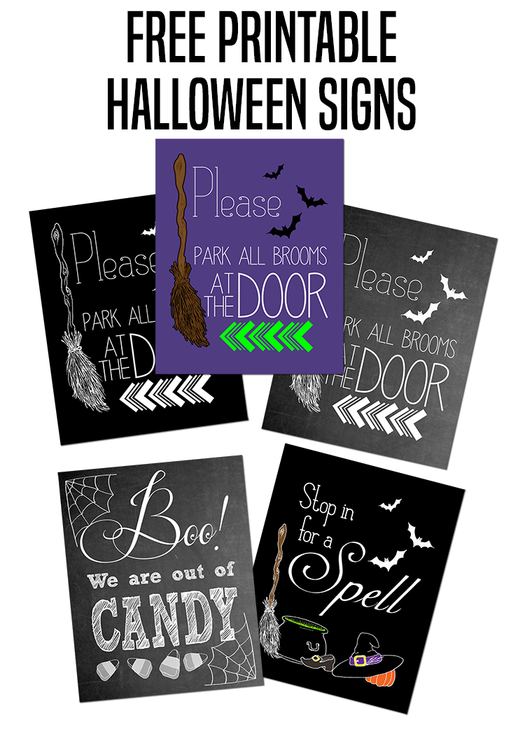 photo relating to Halloween Signs Printable titled Remember to Park All Brooms at the Doorway Halloween Printable