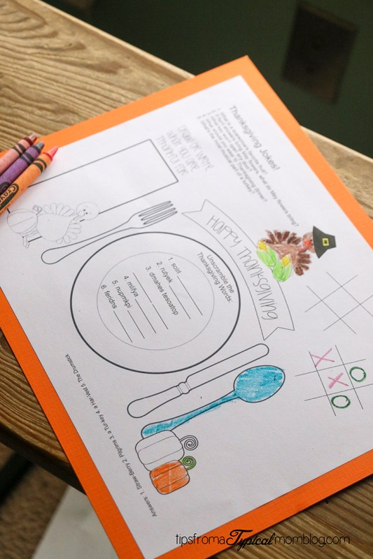 Kids Thanksgiving Placemat Printables