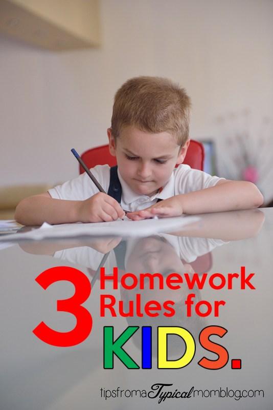 3 Homework rules for kids