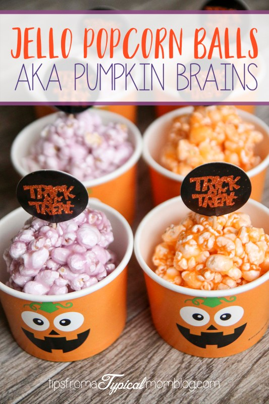 Halloween Jello Popcorn Balls AKA Pumpkin Brains