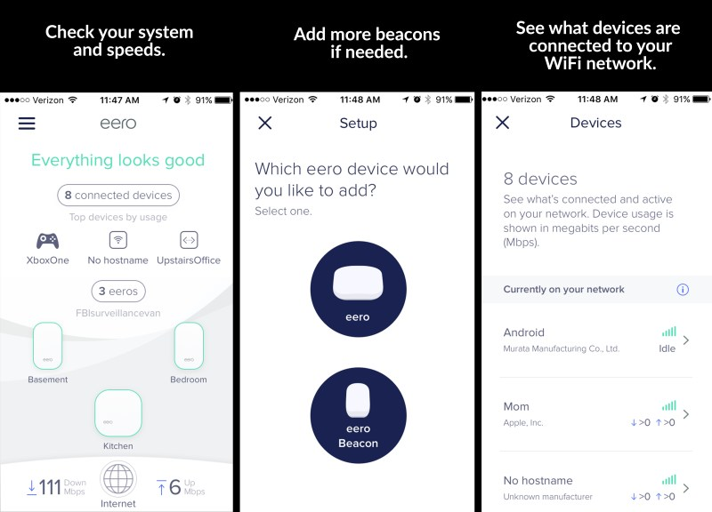 other features of the eero app
