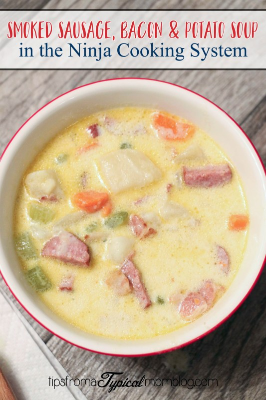 Slow Cooker Smoked Sausage, Bacon & Potato Soup + Ninja Cooking System Giveaway