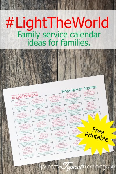 #LightTheWorld Service Ideas Calendar Printable- How to Keep Christ in Christmas
