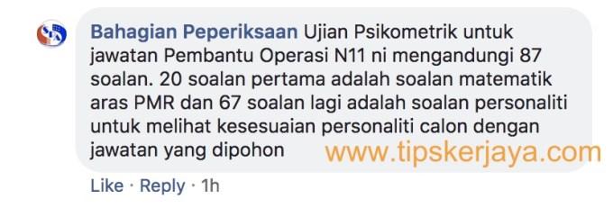 ujian psikometrik pembantu operasi n11