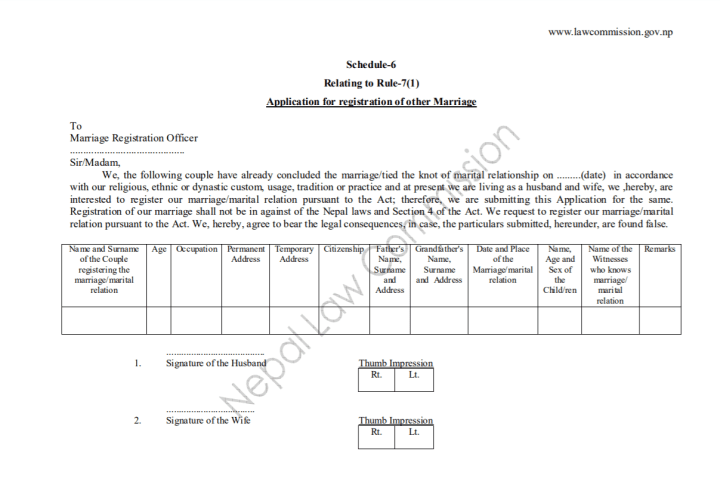 Procedure of Court Marriage in Nepal With Forms