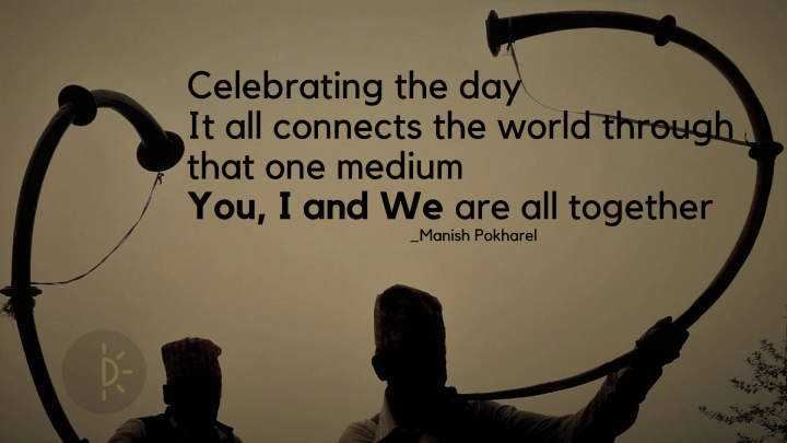 World Music Day quotes on a dark silouhette of people playing Nepali classical instruments