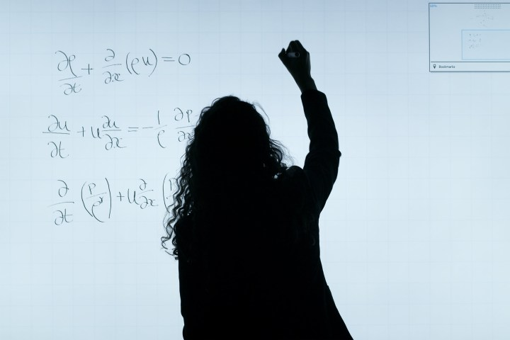 Study Derivation and Physics by a silhouette of a lady
