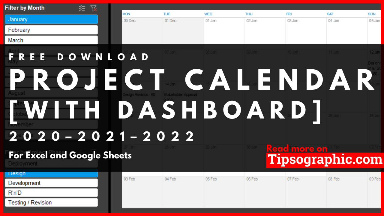 With this template, you will be able to organize all your projects. Project Calendar Template For Excel With Dashboard Free Download 2020 2021 2022 Free Download