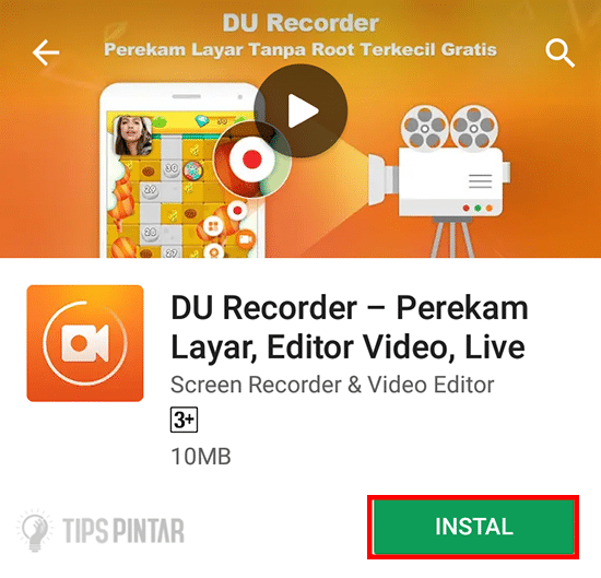 Install Aplikasi DU Recorder