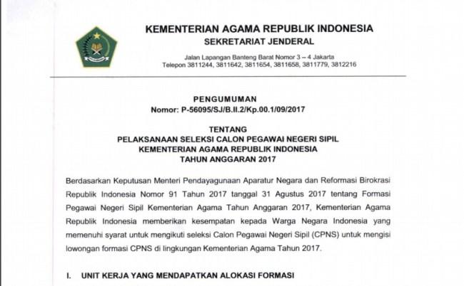 Daftar Nama Lulus Seleksi Administrasi CPNS Kementerian Agama 2017