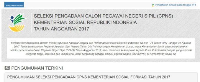 Pengunguman Nama Lulus Hasil Seleksi Administrasi CPNS Kementerian Sosial 2017