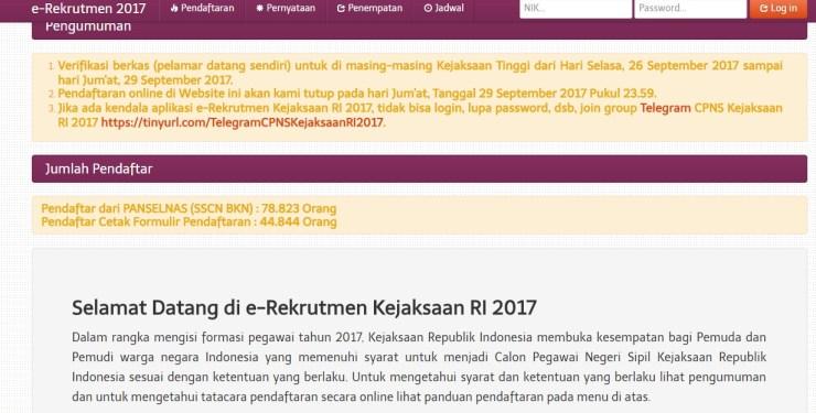 Daftar Nama Lulus Seleksi Administrasi CPNS Kejaksaan Agung 2017
