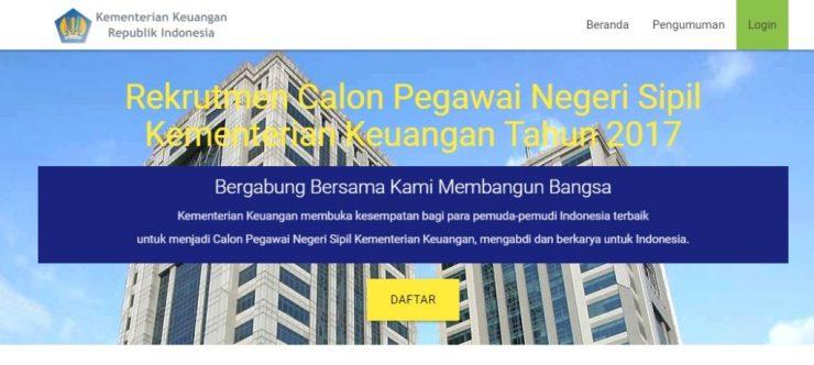 Pengumuman Nama Peserta Lulus Seleksi Administrasi CPNS Kementerian Keuangan 2017